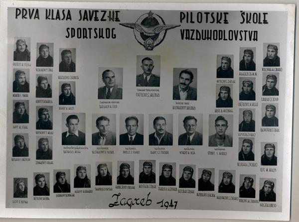 Prva klasa savezne pilotske škole sportskog vazduhoplovstva, Zagreb 1947. godina